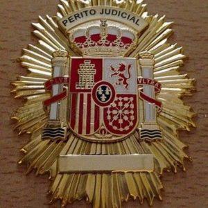 Placa de perito judicial de alta calidad. Esta placa es reconocida por los Juzgados y Tribunales españoles.
