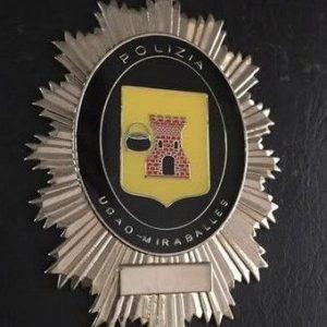 Antigua placa de la policia municipal de Miraballes, Vizcaya.